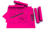 Compass, ruler and pencil on magenta architectural drawings — Stock Photo