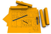 Compass, ruler and pencil on orange architectural drawings — Stock Photo