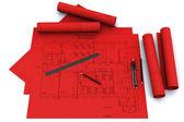 Compás, regla y lápiz sobre dibujos arquitectónicos rojos — Foto de Stock