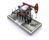 Oil pump-jack stands on a pack of dollars — Stock Photo