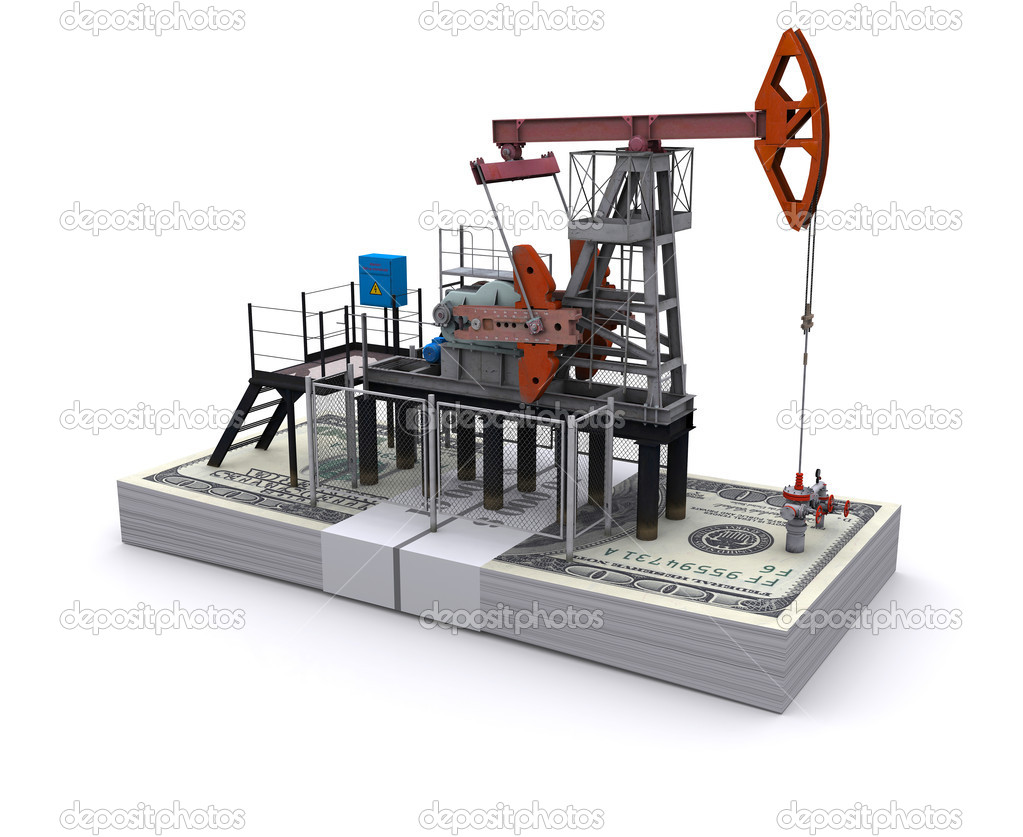 Oil pump-jack stands on a pack of dollars — Stock Photo #5797703