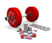 Pills and dumbbell as a symbol of doping in sport — Stock Photo