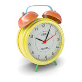 Multicolored alarm clock on white background — 图库照片