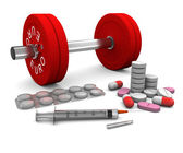 Pills and a syringe and dumbbell as a symbol of doping in sport — Stock Photo