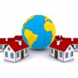 Worldwide Properties. 3d rendering on white background — Stock Photo #6410708