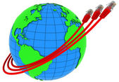 Three red internet cables wrap around the Earth — Stock Photo