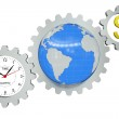 Business arrangement of gears, clock, earth and a dollar sign — Stock Photo