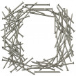 Stock Photo: Frame made of steel nails