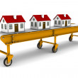 Three houses are moving on conveyor belt — Stock Photo #6451923