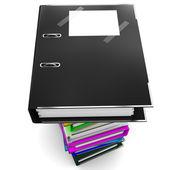 黑色 office 文件夹为论文-的黑会计的象征 — 图库照片