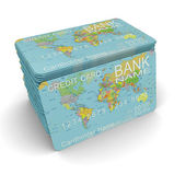A stack of credit cards with a picture map of the Earth — Stock Photo