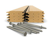 Legname e chiodi - materiale per edilizia — Foto Stock