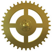 Gold gear of the clock on a white background — Stock Photo
