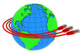 Three red internet cables wrap around the Earth — Foto Stock