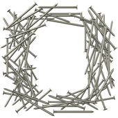 Frame made of steel nails — Stock Photo