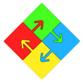 Color Puzzles arrow — Stock Photo