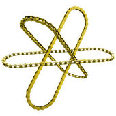 Gold chains like orbits the nucleus - a symbol of science in industry — Foto Stock