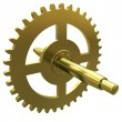 Gold gear of the clock on a white background — Foto de Stock