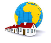 Worldwide Properties. 3d rendering on white background — Stock Photo