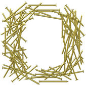 Frame made of gold nails — Stock Photo