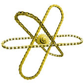 Gold chain around the gold chain sprocket - a symbol of science in industry — Stock Photo
