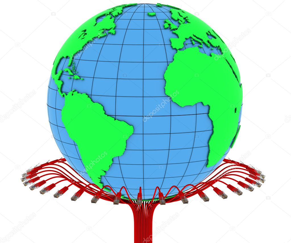 Internet cable and planet earth stock photo cherezoff for Internet plante