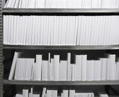 White books in a shelf — Stock Photo