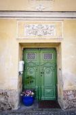 Green Front Door — Stock Photo