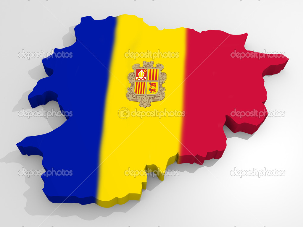 Map of Andorra with flag principality of Andorra — Stock Photo #6215957