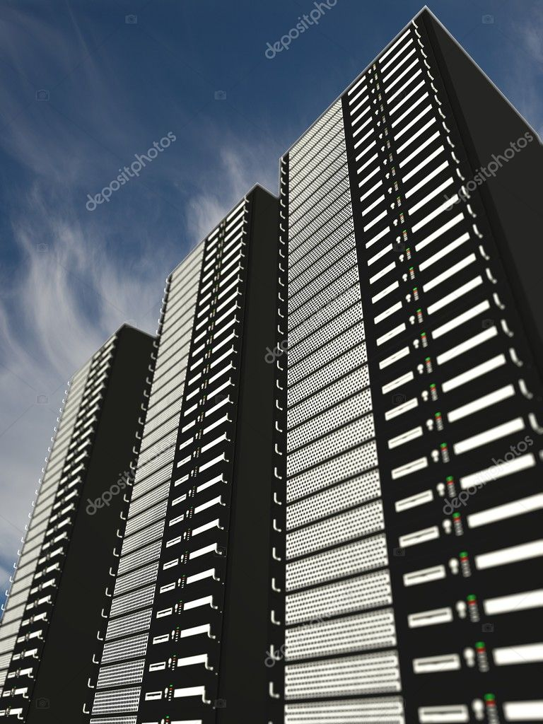 Serverracks with blue cloudy sky — Stock Photo #6695121