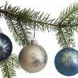 Three Hanging Christmas Ornaments — Stock Photo