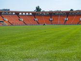 Empty green football field — Stock Photo