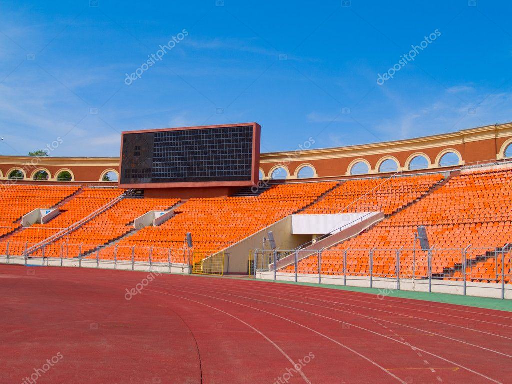 Score board and racetrack in Minsk football stadium  Stock Photo #5801545
