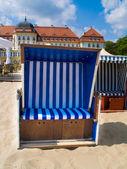 Retro sunbed on beach — Stock Photo