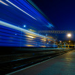 Blue train blur — Stock Photo