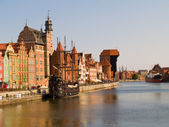Embankment of Molawa river, Gdansk — Stock Photo