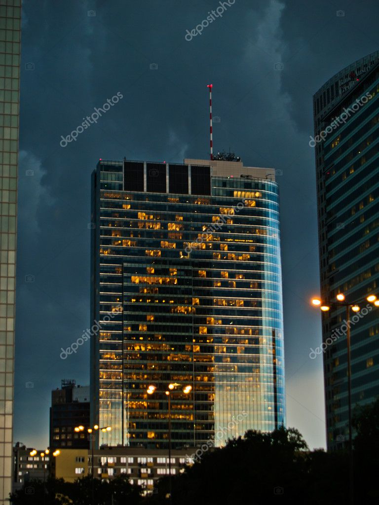 Dark stormy evening in  Warsaw of Poland — Stock Photo #6164054