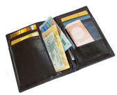 Black wallet with money — Stock Photo