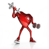 Heart with dumbbells — Stock Photo