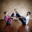 Stock Photo: Couple yogof mand woman