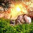 Couple on green grass — Stock Photo