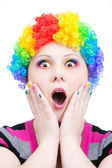 Astonish clown with rainbow make up — Stock Photo