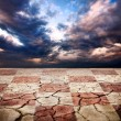 Drought earth with chess desk texture — Stock Photo