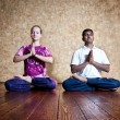Padmasana lotus posture — Stock Photo