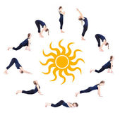 Steps of Yoga surya namaskar sun salutation — Stock Photo