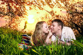 Couple on green grass at sunset — Stock Photo