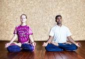 Meditation in Padmasana lotus posture — Stock Photo