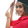 Stock Photo: Young pretty girl with umbrella. on white background.