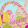 Chicks, Bunny and Eggs - Stock Vector