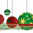 Christmas Ornaments in Red and Green - Stock Vector